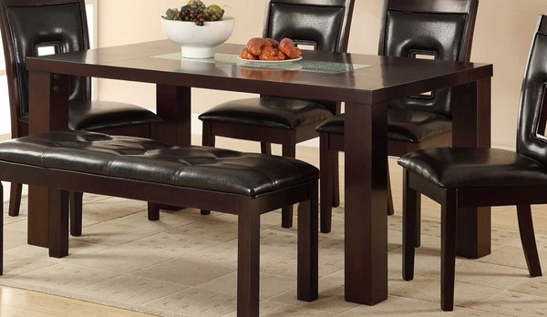 Lee Modern Dark Brown Wood Vinyl Dining Table With Crackle Glass HE-2528-64