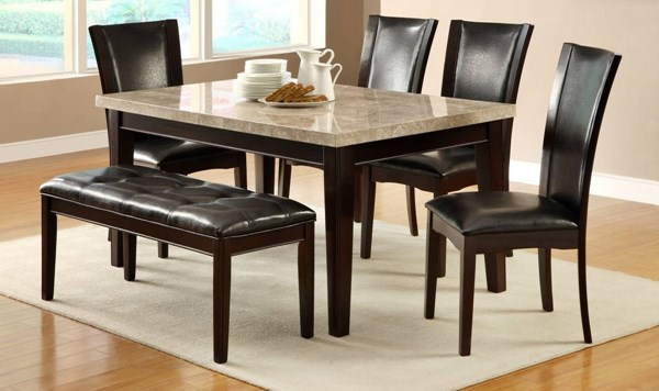 Hahn Transitional Espresso Dark Brown Wood Marble Dining Room Set HE-2529DR