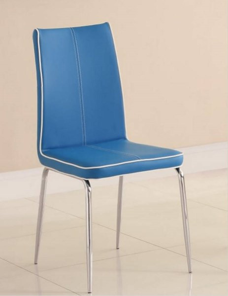 2 Goran Contemporary Blue Metal PVC Side Chairs HE-2533BUS