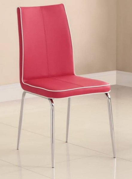 2 Goran Contemporary Red Metal PVC Side Chairs HE-2533RDS