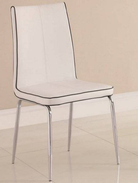 2 Goran Contemporary White Metal PVC Side Chairs HE-2533WHS
