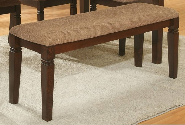 Devlin Transitional Espresso Wood Fabric Bench HE-2538-13