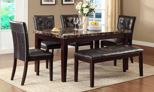 Teague Espresso Dark Brown Wood Faux Marble Vinyl Dining Room Set HE-2544DR