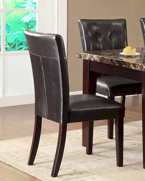 2 Teague Espresso Dark Brown Wood Vinyl Upholstered Side Chairs HE-2544S