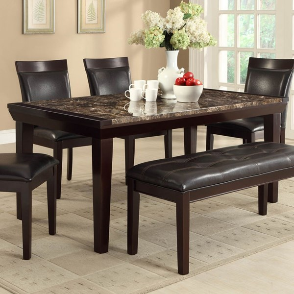 Thurston Espresso Dark Brown Wood Faux Marble Dining Table HE-2545-68