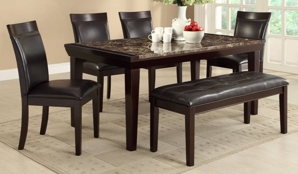 Thurston Espresso Brown Wood Faux Marble Vinyl 6pc Dining Room Set HE-2545DR-S