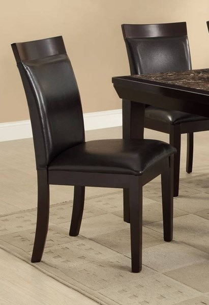 2 Thurston Espresso Dark Brown Wood Vinyl Upholstered Side Chairs HE-2545S