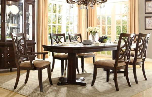 Keegan Formal Rich Brown Cherry Wood 7pc Dining Room Set HE-2546-108-DR-S