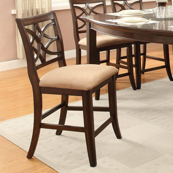 2 Keegan Rich Brown Cherry Wood Fabric Counter Height Chairs HE-2546-24