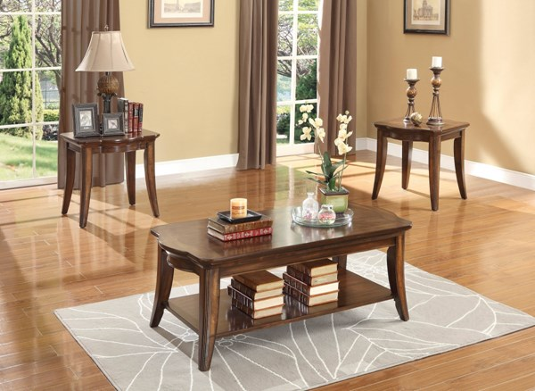 Keegan Rich Brown Cherry Wood 3-Piece Occasional Table HE-2546-31