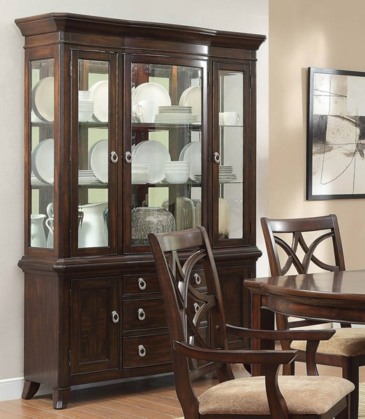 Keegan Formal Rich Brown Cherry Wood Buffet And Hutch HE-2546-50
