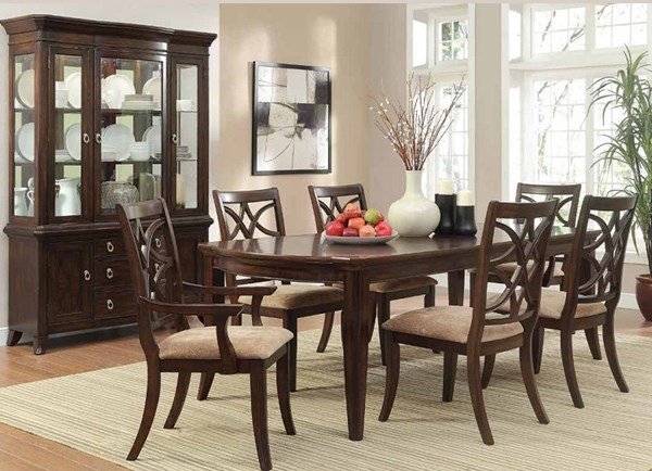 Keegan Rich Brown Cherry Wood 7pc Dining Room Set HE-2546DR-S