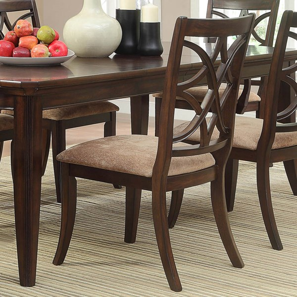 2 Keegan Formal Rich Brown Cherry Wood Side Chairs HE-2546S