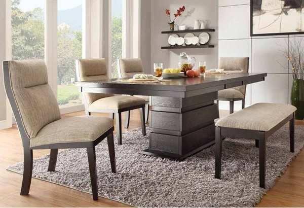 Tanager Contemporary Dark Espresso Wood Fabric 6pc Dining Room Set HE-2549-DR-S