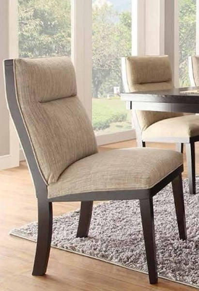 2 Tanager Contemporary Dark Espresso Wood Fabric Side Chairs HE-2549S