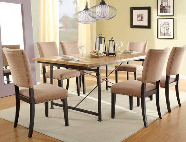 Derry Black Rustic Wood Metal Fabric 7pc Dining Room Set HE-2555-DR-S