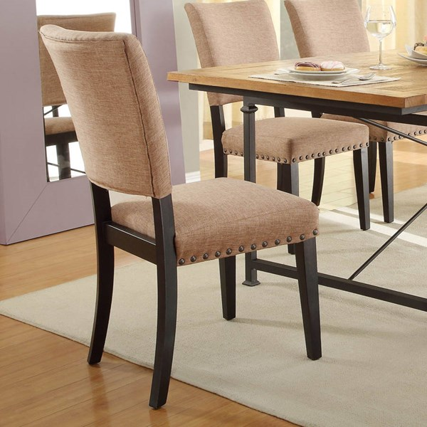 2 Derry Black Rustic Wood Fabric Side Chairs HE-2555S