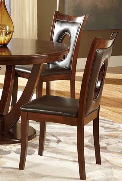 2 Vanbure Dark Brown Cherry Wood Vinyl Side Chairs HE-2568BRS