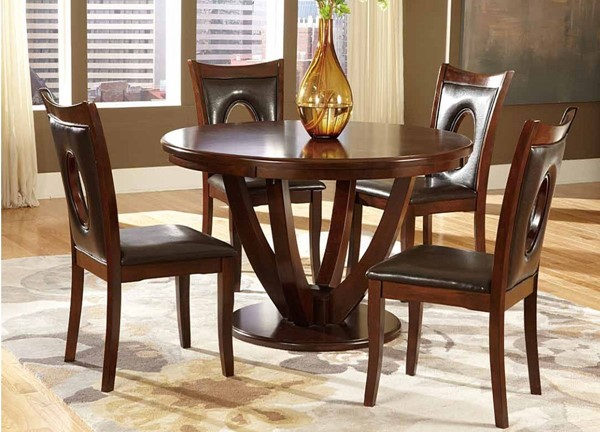 Vanbure Dark Brown Cherry Wood Vinyl 5pc Dinette Set HE-2568-DN-S