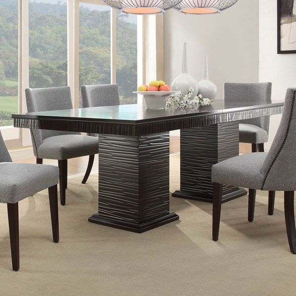 Chicago Traditional Espresso Grey Wood Dining Table HE-2588-92