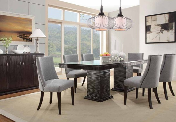 Chicago Traditional Espresso Wood Grey Fabric 7pc Dining Room Set HE-2588-DR-S