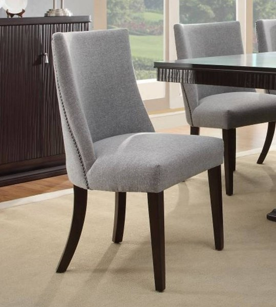 2 Chicago Traditional Espresso Wood Grey Fabric Side Chairs HE-2588S