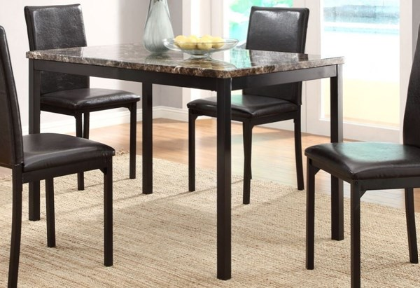 Tempe Brown Black Wood Faux Marble Dining Table HE-2601-48