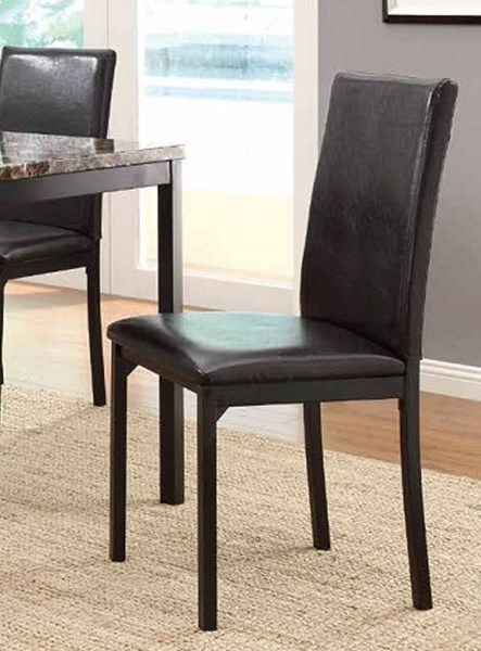 4 Tempe Black Wood Brown Vinyl Side Chairs HE-2601S