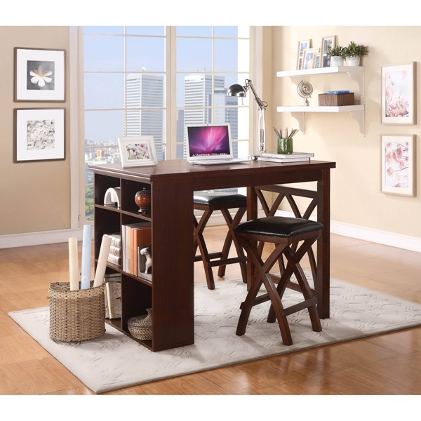 Mably Transitional Brown Cherry Wood 3pc Pack Counter Height Set HE-2606-36