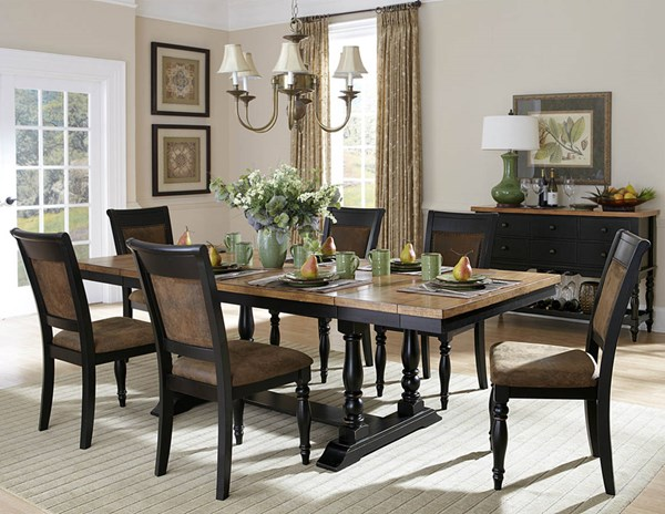 Grisoni Rustic Distressed Black Acacia Wood Microfiber Dining Room Set HE-2609-DR