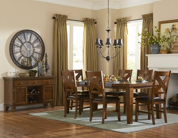 Silverton Casual Warm Brown Cherry Wood Dining Room Set HE-2612-DR