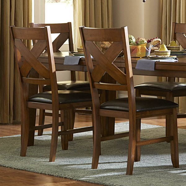 2 Silverton Casual Warm Brown Cherry Wood Side Chairs HE-2612S