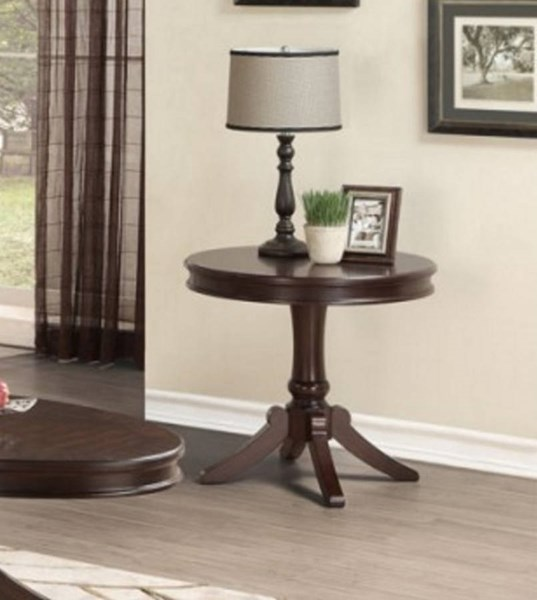 Marston Classic Dark Cherry Wood Round End Table HE-2615DC-04