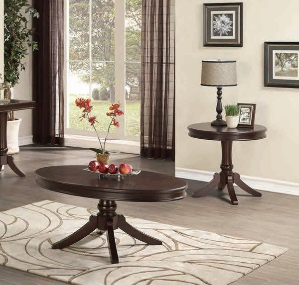 Marston Cherry Wood 3pc Coffee Table Set w/Oval Cocktail Table HE-2615DC-OVL-OCT-S