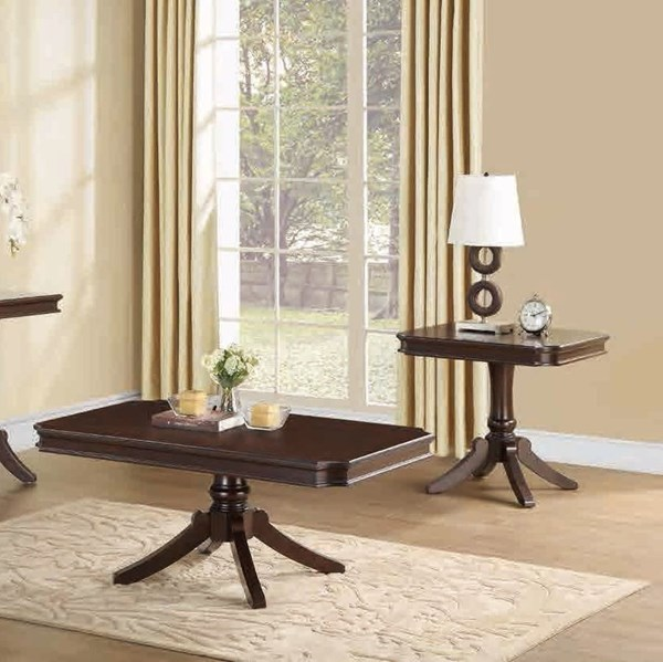 Marston Cherry Wood 3pc Coffee Table Set w/Rectangle Cocktail Table HE-2615DC-RECT-OCT-S