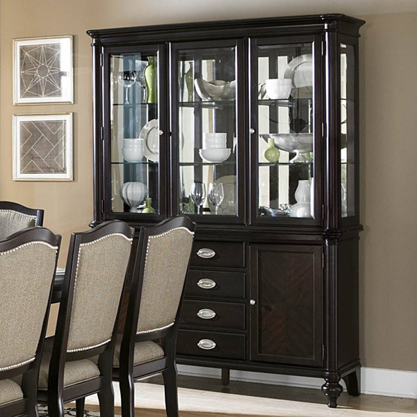 Marston Dark Brown Nutral Black Wood Glass Buffet And Hutch HE-2615DC-50