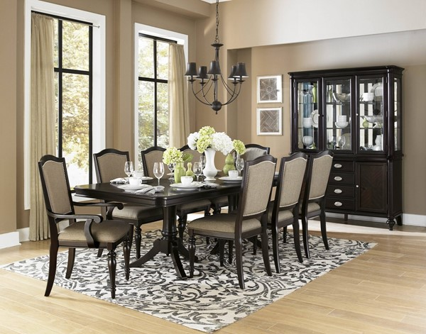 Marston Dark Brown Nutral Black Wood Fabric Dining Room Set HE-2615DC-DR