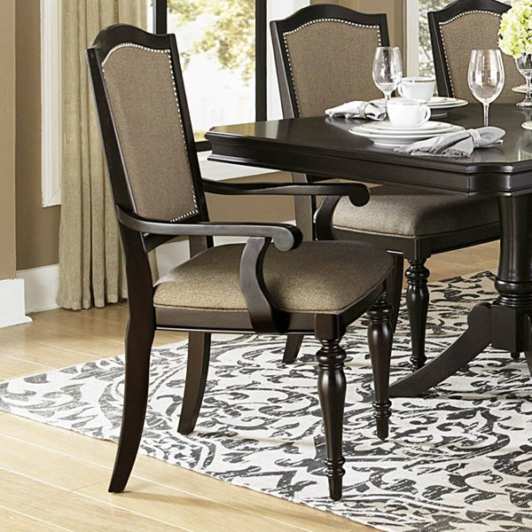 2 Marston Dark Brown Nutral Black Wood Fabric Arm Chairs HE-2615DCA