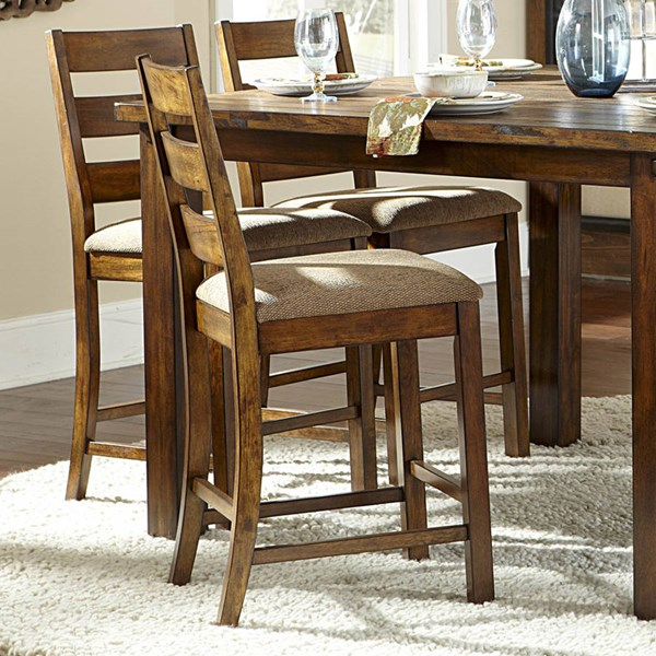 2 Ronan Transitional Beige Rustic Wood Fabric Counter Height Chairs HE-2617N-24