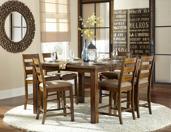 Ronan Transitional Beige Rustic Wood 7pc Counter Height Bar Set HE-2617N-BAR-S1