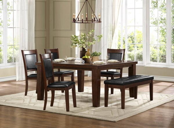 Weldon Cherry Dark Brown Wood Bi-Cast Vinyl Dining Room Set HE-2622-DR