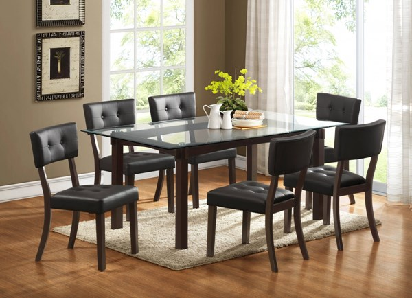 Clarity Espresso Dark Brown Wood Glass Vinyl 7pc Dining Room Set HE-2623-DR-S1