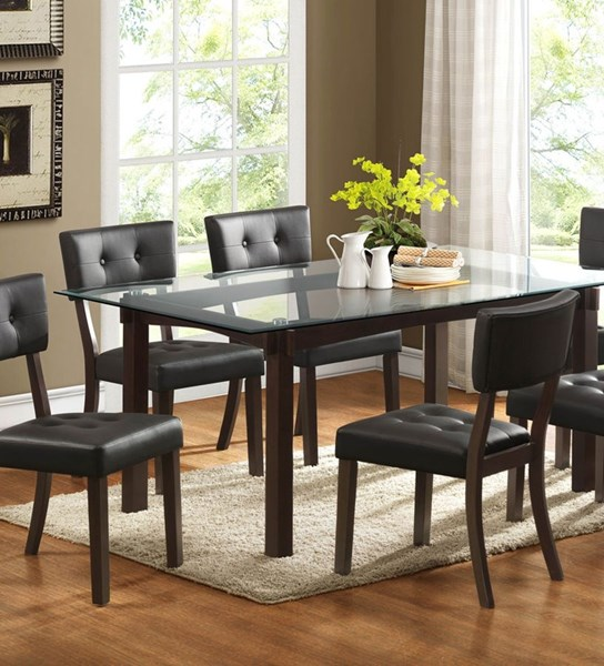 Clarity Espresso Wood Glass Dining Table HE-2623-72