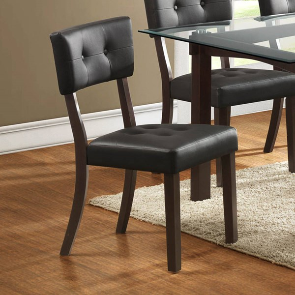 2 Clarity Espresso Dark Brown Wood Vinyl Side Chairs HE-2623DBS