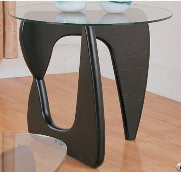 Chorus Retro Black Wood Glass Top Round End Table HE-3205-04