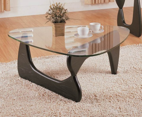 Home Elegance Chorus Black Cocktail Table with Glass Top HE-3205-30