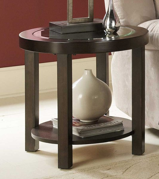 Brussel Espresso Wood Glass Bicast Vinyl Round End Table HE-3219-04