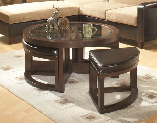 Brussel Espresso Wood Glass Round Cocktail Table w/4 PU Ottomans HE-3219PU-01