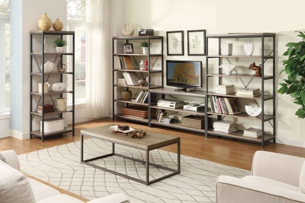 Daria Rustic Grey Wood Metal Entertainment Center HE-3224N-ENT