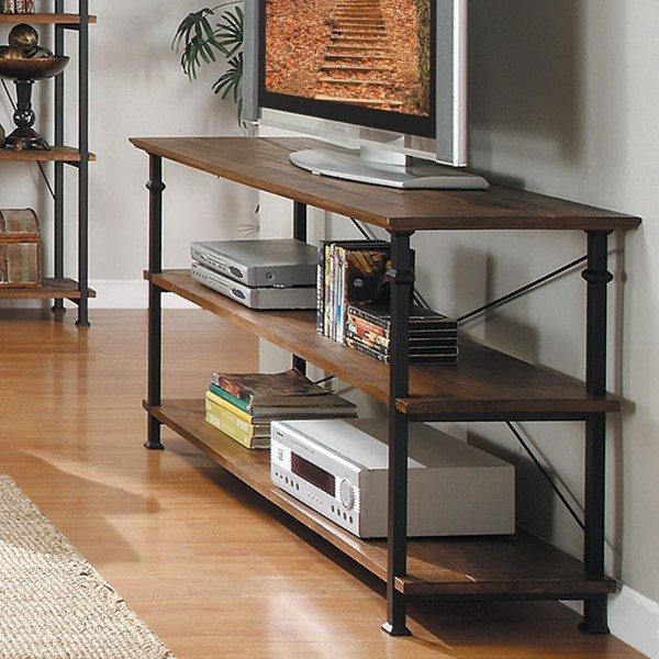 Factory Rustic Brown Wood Metal Sofa Table / TV Stand HE-3228-05